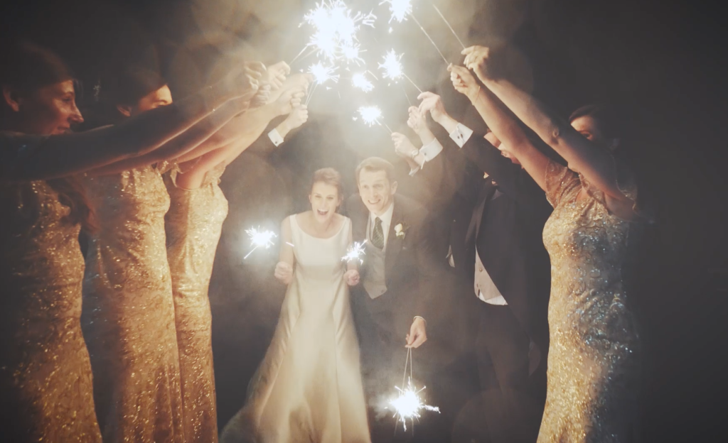 The sparklers walk begins! (Wedding film Cornwall, Devon, Somerset)